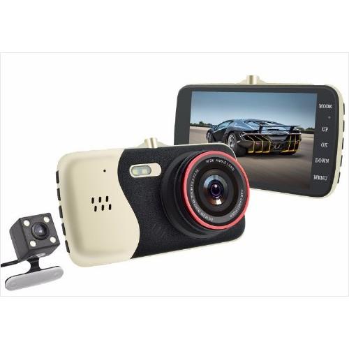 """מצלמה לרכב עדשות כפולות FULL HD 1280P מסך """"4"""